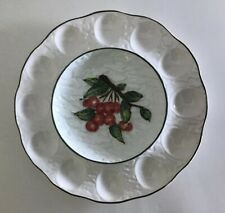 Embassy Quality Products Textured Majolica Cherries Deviled Egg Plate Dish VTG