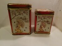 Vintage Embossed Floral Fishing Nesting Tins/Canisters Made in Holland, Set of 2