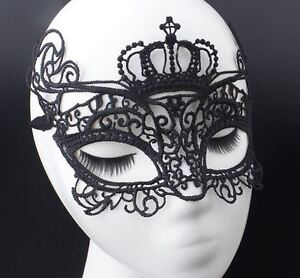 Black Lace Masquerade Eye Masks Cut-out Crown Halloween, Fancy Dress Party