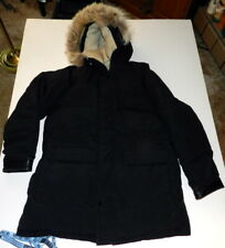 Actionwear Hooded Parka Duck GOOSE DOWN Winter Jacket Size MEDIUM Black Shell