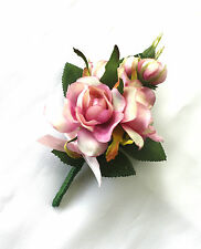 Corsage for Lady, Pin-on Pink Rosebud Wedding Corsage for Mother, Silk Flowers