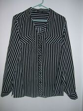 Notations New Black White Stripe Long Sleeve Womens Top Plus Size 1X