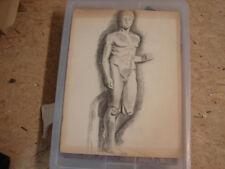 Joli ancien crayon, homme nu, Huss, Beaux Arts, 1941