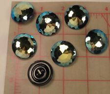 """3 Vintage LG Faceted Czech Pressed Glass Shank Buttons Blue Jet AB 1"""" 27mm #382"""