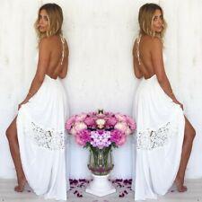 Women Sexy Backless Halter Boho Dress Evening Cocktail Long Maxi Beach Sundress