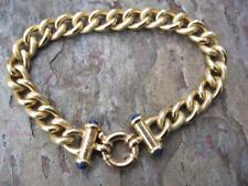 14 KT Yellow Gold Shiny Oval Link Bracelet Blue Lapis Cabochon Toggle Clasp 7.25