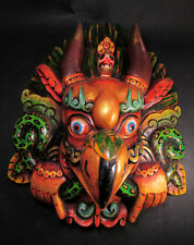 M413 Hand Carved wooden Mask Hindu Chhepu Garuda Bird Statue Wall hanging Nepal
