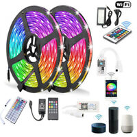 10M 5050 RGB SMD Waterproof LED Strip Light+Bluetooth WiFi Remote 12V Power 1-5M