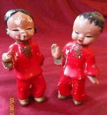 TRUE VINTAGE 1950s 50s Red Dancing China Doll Pair Figurines