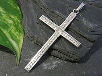 Schöner Silber Anhänger Kreuz Glaube Jesus Gott Schlicht Vintage Retro Christus