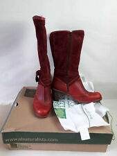 El Naturalista LEATHER/SUEDE Knee Length Boots  - In TIBET Red/Burgundy - Size 9
