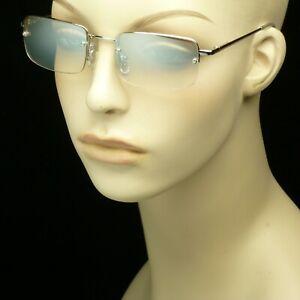 Sun glasses light tint clear pearl mirror lens silver frame rimless men women