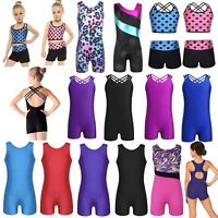 Kids Gymnastics Leotard Ballet Dance Bodysuit Girls Gym Sports Tank Tops Unitard