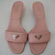 PRADA CLASSIC LOGO LEATHER SLIDES SANDALS MULES SHOES LOW HEELS PINK  ITALY XLNT