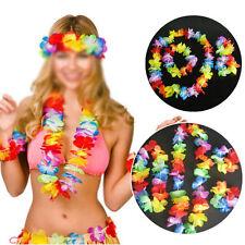 10 x Disfraz Hawaiano Flor Lei Collar DIADEMA ESTILO Guirnalda Hula Set hw031