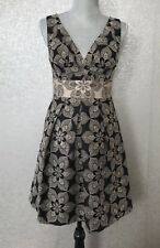 Eva Franco Anthropologie SZ 4 Sleeveless Black Gold Pleated Dress Cocktail