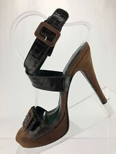 Donald J Pliner Croc Leather Couture High Heels Slingback Burgundy Womens Sz 7M