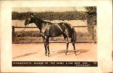 Signorinetta Winner of the Derby Oaks 1908 RPPC postcard real photograph horse