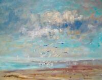 """11""""X14"""" AskArt Listed Nino Pippa Original Oil Painting Seagulls and Sailboats"""