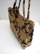 kori N Large Embossed Tapestry Style Black and Beige Carry-All Handbag