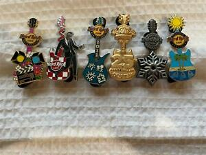 Hard Rock Cafe Pin Lot of 6 Guitars - Honolulu - Tampa - New Orleans and More