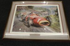"Framed Litho ""The Maestro at His Best"" (J-M Fangio) by Alfredo de la Maria (LE)"