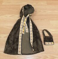 Unbranded Handmade Style Vintage Brown Cloak & Purse For Dolls **READ**