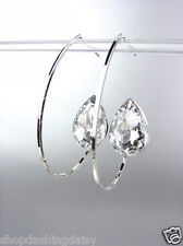 CHIC Sex and the City Style Silver Wire Czech Crystal Dangle Post Earrings