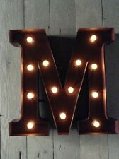 LED LIGHT CARNIVAL CIRCUS  RUST  METAL LETTER  M - WALL OR FREE STANDING 13 INCH