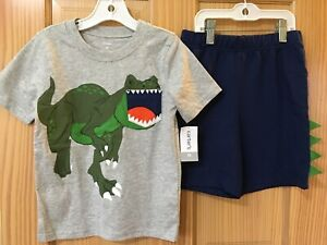 NEW Carter's Boys Dinosaur Shirt & Shorts Set 2pcs Gray Navy Toddler
