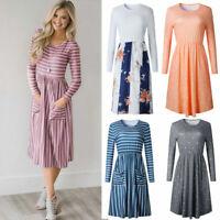 Fashion Women's Long Sleeve High Waisted Dress Boho Maxi Beach A-Line Sundress