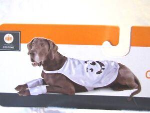 Pet Dog Costume White Satin Emoji Ghost Lined Satin Cape Style Coat Sz L XL NEW