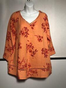 SOFT SURROUNDINGS Sz XL Garden Gauze Pullover Floral Cotton Tunic Top Orange