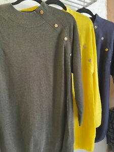 F+F Ladies Loose Knit Button Detail Jumper - 3 Colours - Sizes 6-18 - Brand New