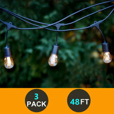 3 Pack 48FT Outdoor Weatherproof Commercial Grade Patio LED String Lights Bulbs