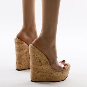 Women Transparent Super High Wedge Heels Sandals Platform Clog Slippers Beach