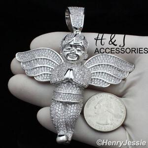 MEN 14K WHITE GOLD FINISH BLING OVERSIZE 3D SILVER ANGEL WING PENDANT*ABP3