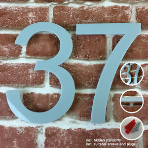 "Large Modern Acrylic HOUSE NUMBER Arial glossy 20cm/7,8"" tall hidden fittings"