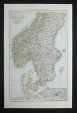 Antique Map: Southern Scandinavia, Norway & Sweden, The Universal Atlas, 1893