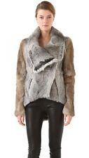 Helmut Lang Bicolor Rabbit Fur & Leather Coat Jacket Tan P XS $2495