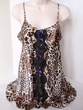 In Bloom by Jonquil Leopard Print Camisole Baby Doll Top Lace Front Spaghetti Sm