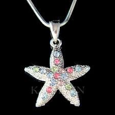 ~Rainbow STARFISH made with Swarovski Crystal Beach Ocean star fish Necklace New