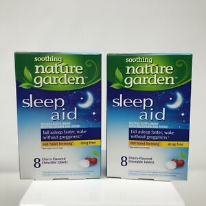(2X) Soothing Nature Garden Sleep Aid Chewable Tablets Cherry 8 Ct Exp 08/2023