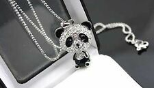 Betsey Johnson Little Crystal Panda Necklace Black & Silver , Ships from U.S.