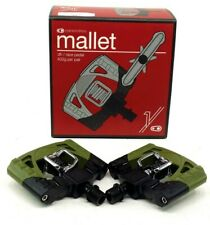 Crank Brothers Mallet 1 DH Race Mountain Bike Pedals Green Black WITH CLEATS