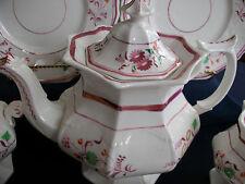 PINK LUSTRE GOTHIC 1840's ENGLAND- TEA POT- MULTI SIDED!! FLORAL!! EXCELLENT!!