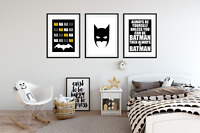 Boys Bedroom A4 Prints - BATMAN PICTURES Home Decor Set of 3
