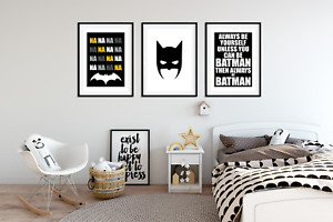 Boys Bedroom A4 Prints - BATMAN PICTURES Home Decor Set of 3