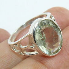 Facted Green Amethyst Gemstone Solid Sterling Silver Ring Beautiful - All SIZES