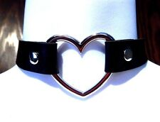 LARGE BLACK HEART RING COLLAR silver rivet choker punk necklace vinyl veggie L4